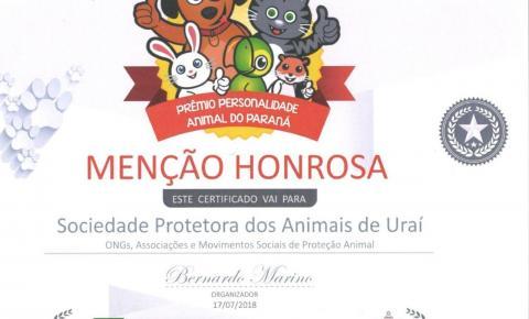 Ong SPA-Uraí recebe menção honrosa